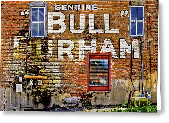 Greeting Card featuring the photograph Handpainted Sign On Brick Wall by David and Carol Kelly
