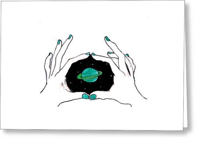 Hands Around Saturn Greeting Card