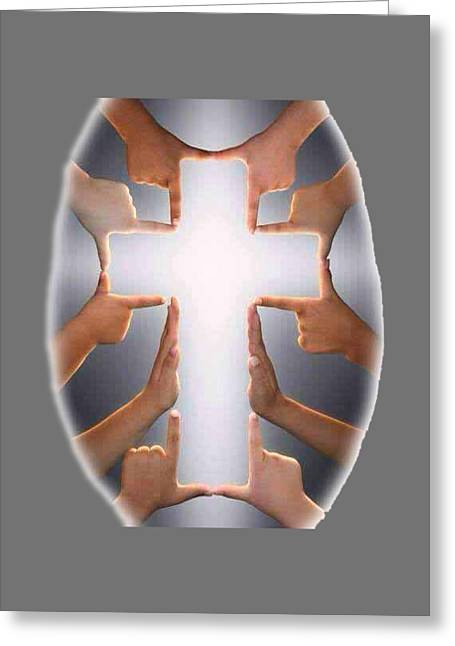 Hands Cross T-shirt Greeting Card by Herb Strobino
