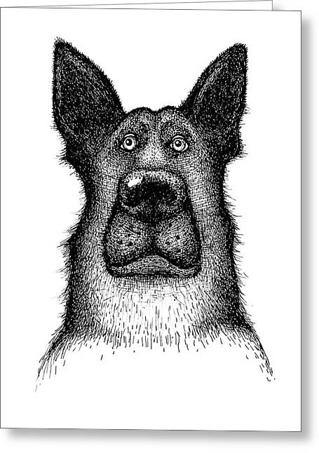 Hands Drawing A Portrait Of A Dog - Sheep Dog Greeting Card