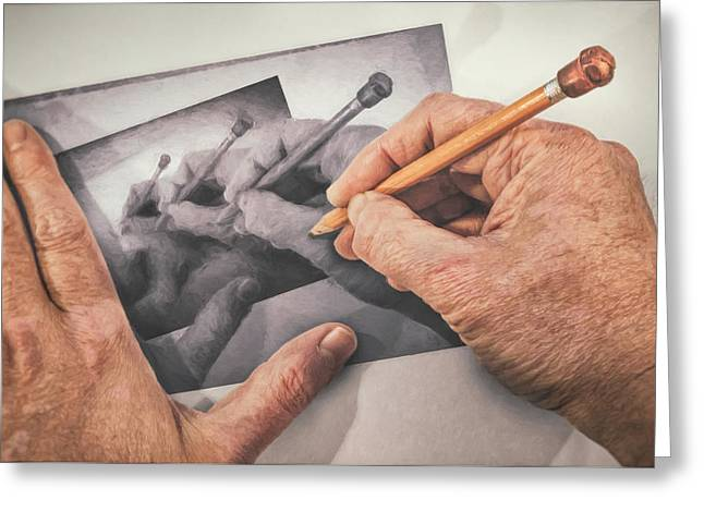 Hands Drawing Hands Greeting Card by Scott Norris