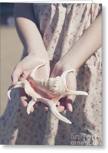 Hands Holding Large Seashell Greeting Card by Jorgo Photography - Wall Art Gallery