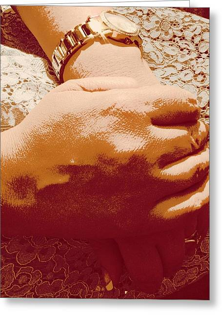 Hands Greeting Card by Martine Murphy