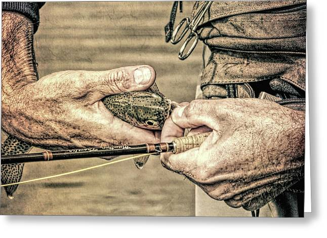 Hands Of A Fly Fisherman Grunge Greeting Card by Jennie Marie Schell