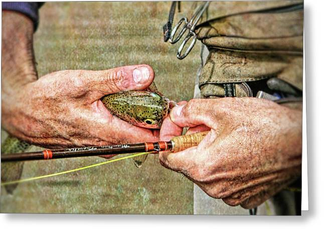 Hands Of A Fly Fisherman Greeting Card by Jennie Marie Schell