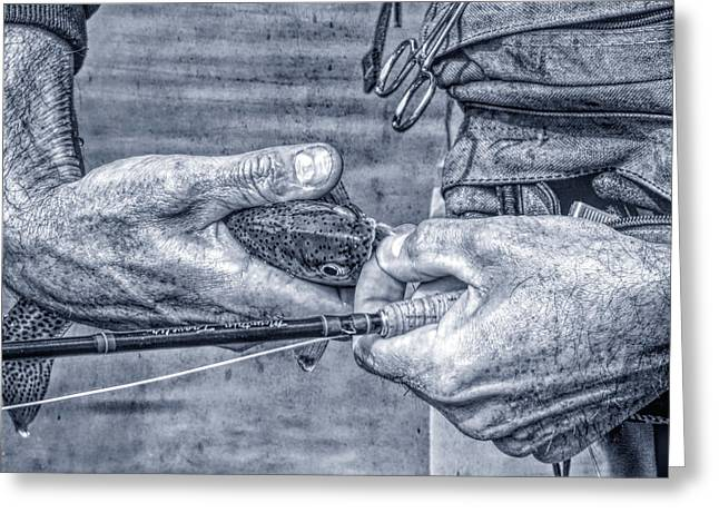 Hands Of A Fly Fisherman Monochrome Blue Greeting Card by Jennie Marie Schell