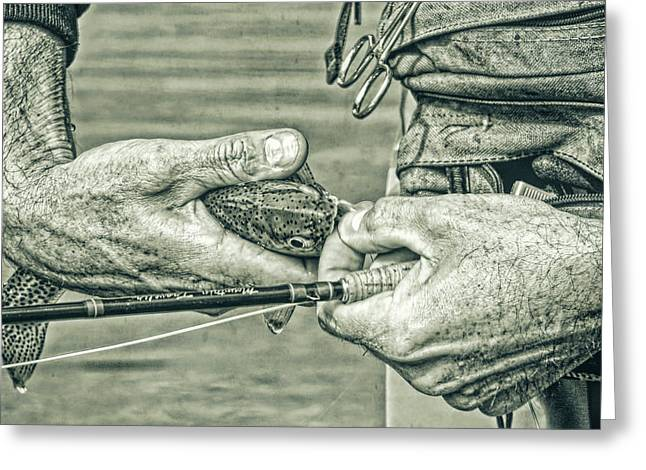 Hands Of A Fly Fisherman Monochrome Green Greeting Card by Jennie Marie Schell