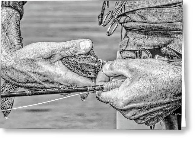 Hands Of A Fly Fisherman Monochrome Greeting Card