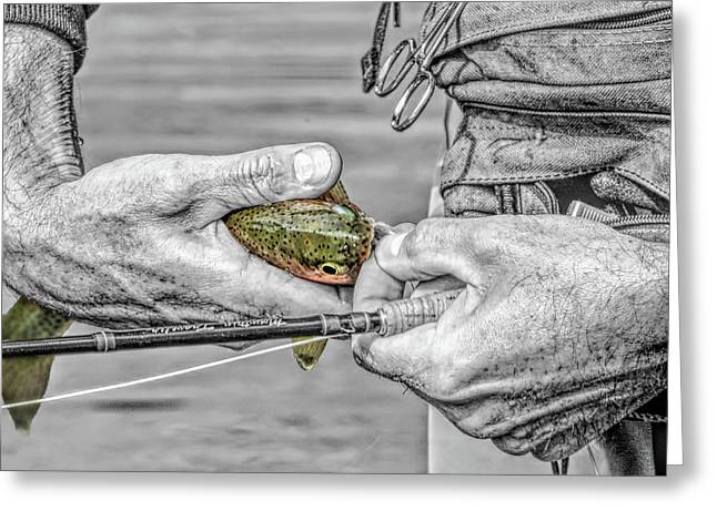 Hands Of A Fly Fisherman Monochrome Select Color Greeting Card by Jennie Marie Schell