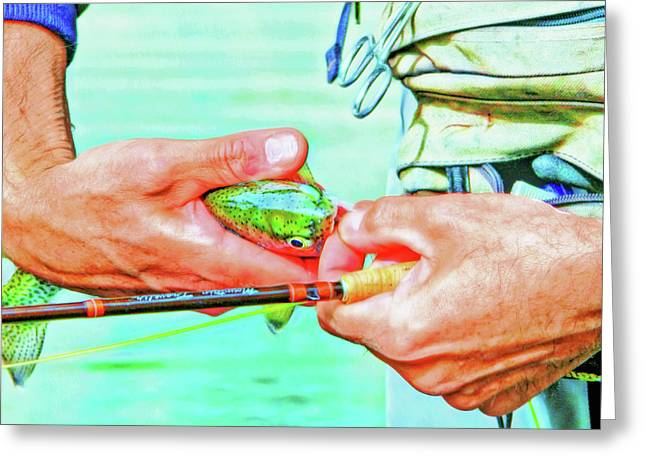 Hands Of A Fly Fisherman Retro Colors Greeting Card by Jennie Marie Schell