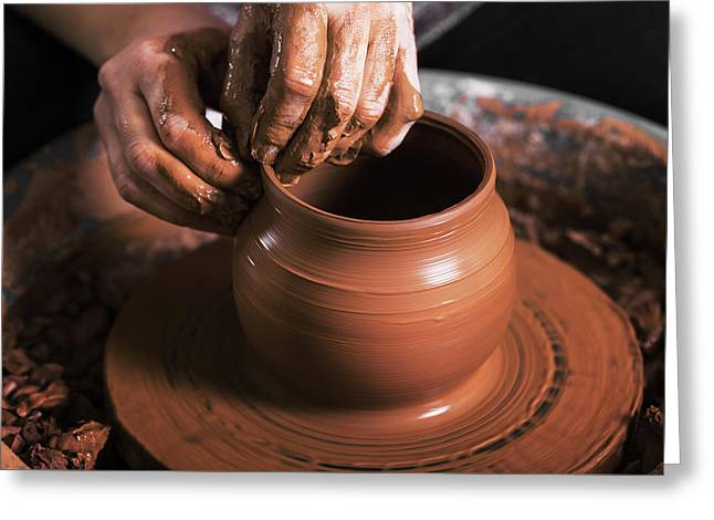 Hands Of A Potter, Creating An Earthen Jar On The Circle Greeting Card