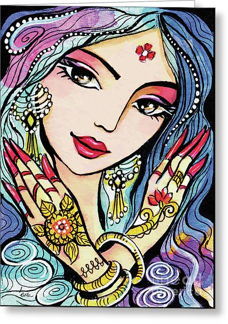 Greeting Card featuring the painting Hands Of India by Eva Campbell