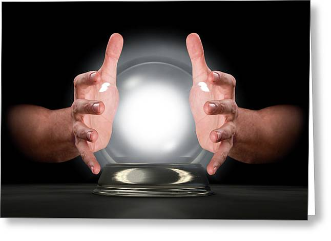 Hands On Crystal Ball Greeting Card