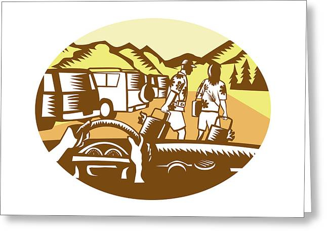 Hands On Wheel Tourist Mountain Oval Woodcut Greeting Card