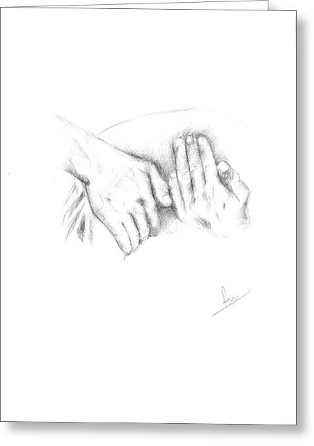 Hands Greeting Card by Reza Naqvi
