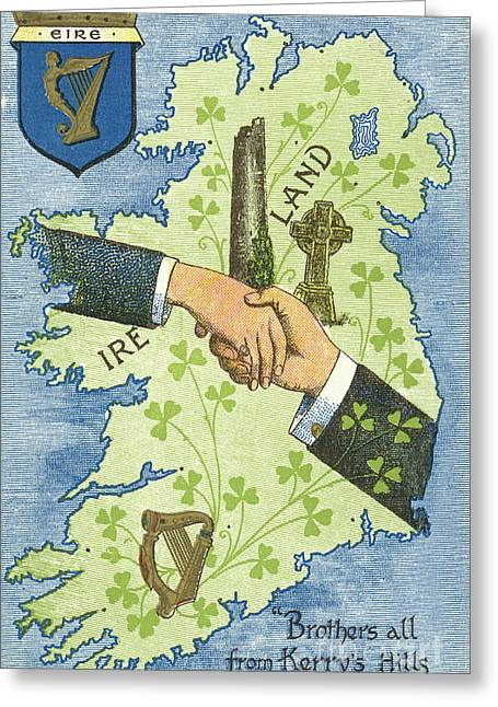Hands Shaking Across Ireland Greeting Card by Irish School