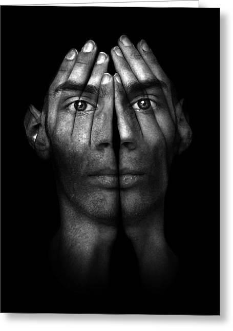 Hands Trying To Cover Eyes Greeting Card by Evan Sharboneau