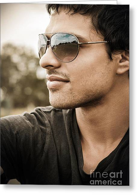 Handsome Male Model In Fashionable Sunglasses Greeting Card by Jorgo Photography - Wall Art Gallery