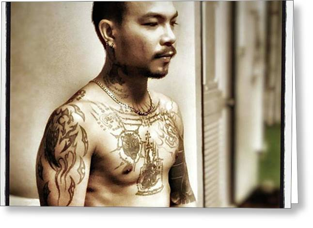 Greeting Card featuring the photograph Handsome Man With Tattoos. #thailife by Mr Photojimsf