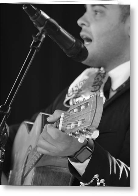 Handsome Mariachi Guitar Player  Greeting Card by Mark Christian
