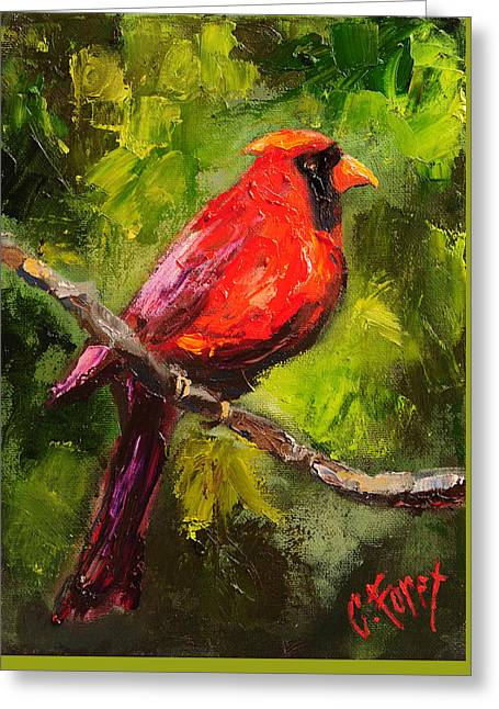 Handsome Red Greeting Card by Carole Foret