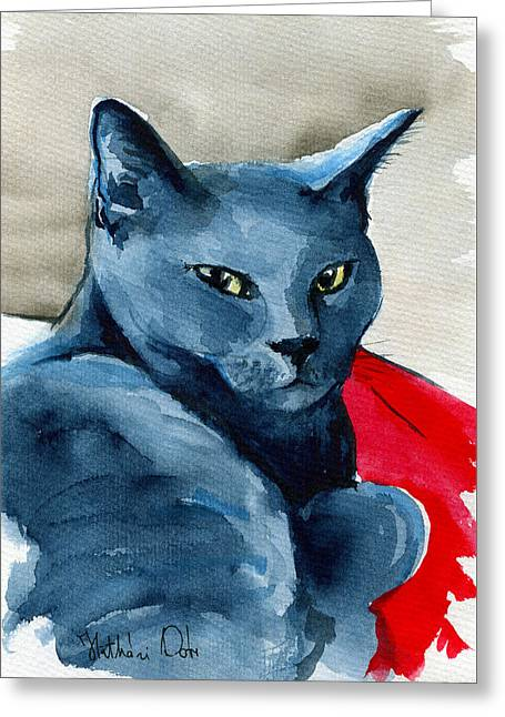 Handsome Russian Blue Cat Greeting Card