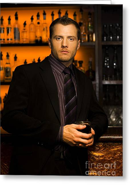 Handsome Young Man At Nightclub Bar Greeting Card