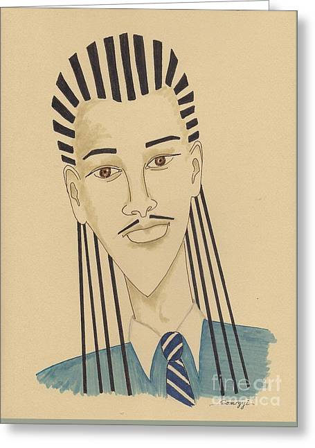 Handsome Young Man -- Stylized Portrait Of African-american Man Greeting Card by Jayne Somogy