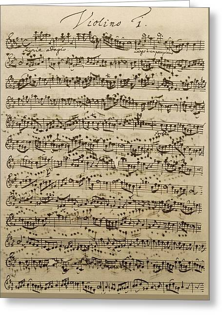 Handwritten Score For Mass In B Minor Greeting Card by Johann Sebastian Bach