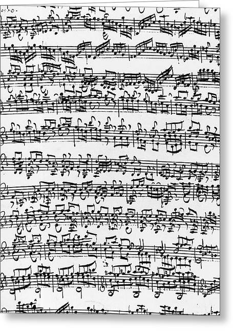 Handwritten Score Of Sonata No 1 For Solo Violin Greeting Card by Johann Sebastian Bach