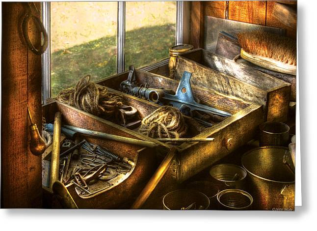 Handyman - Junk On A Bench Greeting Card by Mike Savad