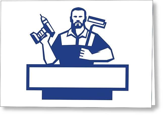 Handyman Bearded Cordless Drill Paintroller Retro Greeting Card