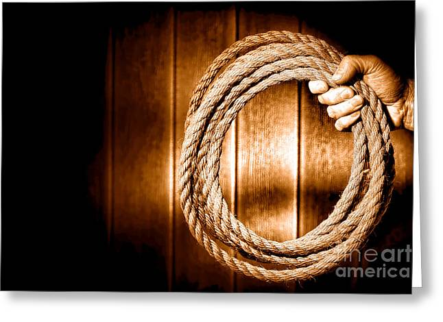 Hang 'em High - Sepia Greeting Card by Olivier Le Queinec