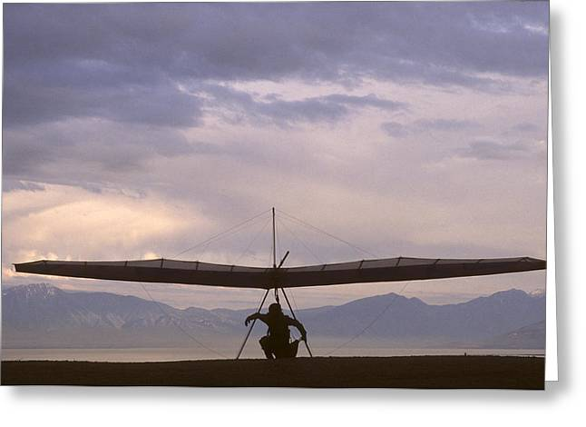 Hang Glider And Pilot Wait To Launch Greeting Card