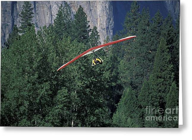 Hang Glider In Yosemite Greeting Card by Stan and Anne Foster