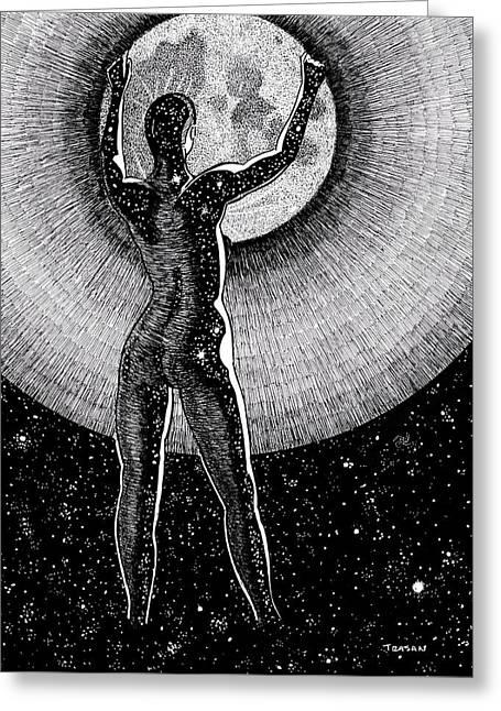 Hang The Moon Greeting Card by Trajan