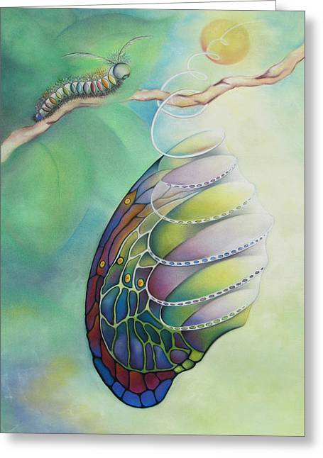 Hangin By A Thread Greeting Card by Tracey Levine