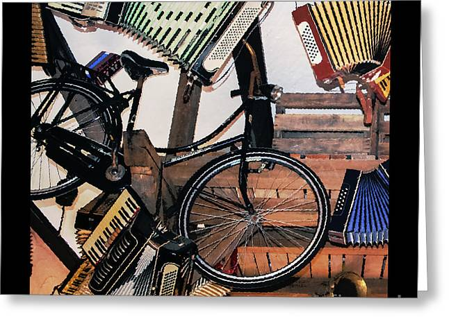 Hanging Around With Accordions Greeting Card by Amy Sorvillo