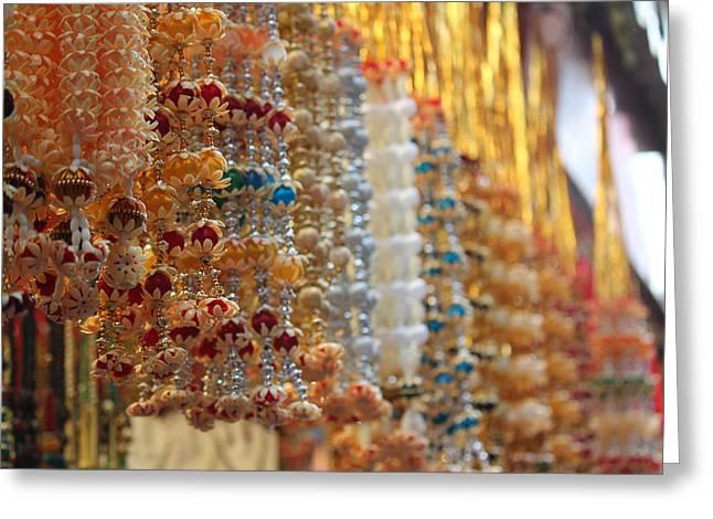 Hanging Beaded Flower Malas, Haridwar Greeting Card by Jennifer Mazzucco