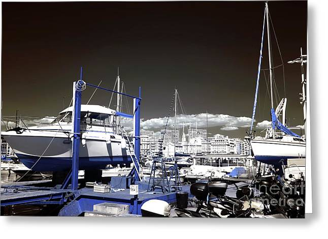 Hanging Boats Greeting Card by John Rizzuto