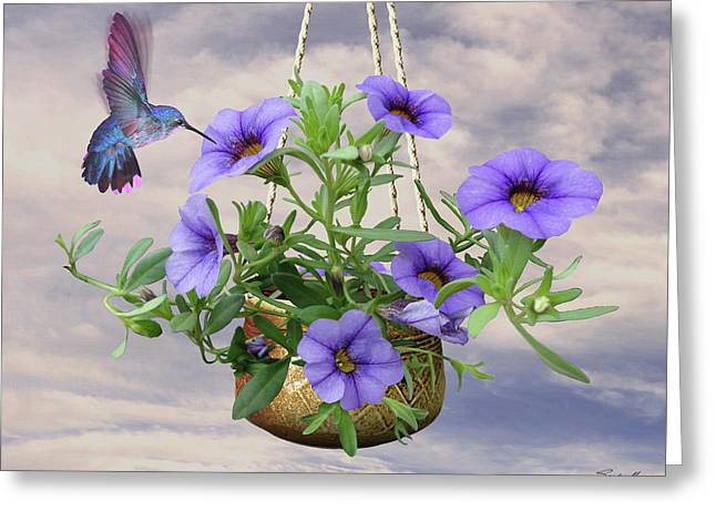 Hanging Flowers And Hummingbird Greeting Card by Spadecaller