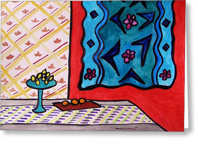 Lemon Art Drawings Greeting Cards - Hanging in Blues on Red Greeting Card by John  Williams
