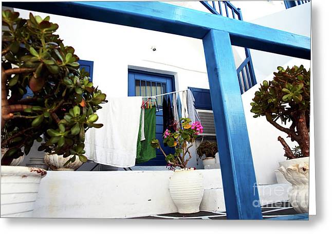 Hanging Laundry In Mykonos Greeting Card