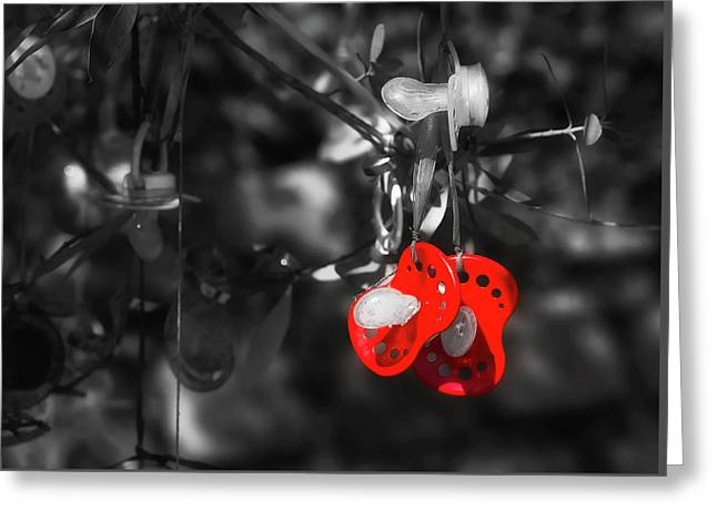 Hanging Pacifiers Greeting Card by Gabriela Neumeier
