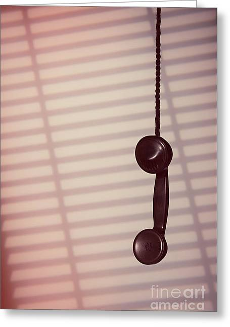 Hanging Phone Receiver Greeting Card by Amanda Elwell