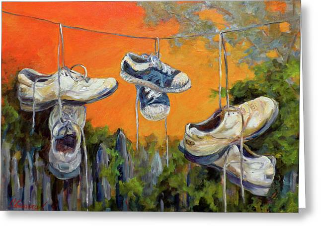 Hanging Tennis Shoes Greeting Card by Jean Groberg