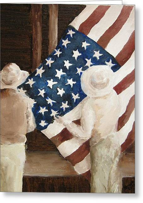 Hanging The Flag - 1 Greeting Card by Frieda Bruck