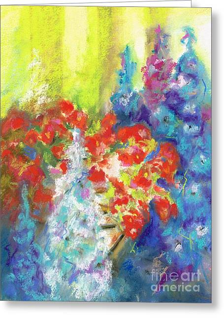 Hanging With The Delphiniums  Greeting Card by Frances Marino