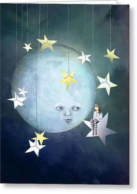 Hanging With The Stars Greeting Card by Catherine Swenson