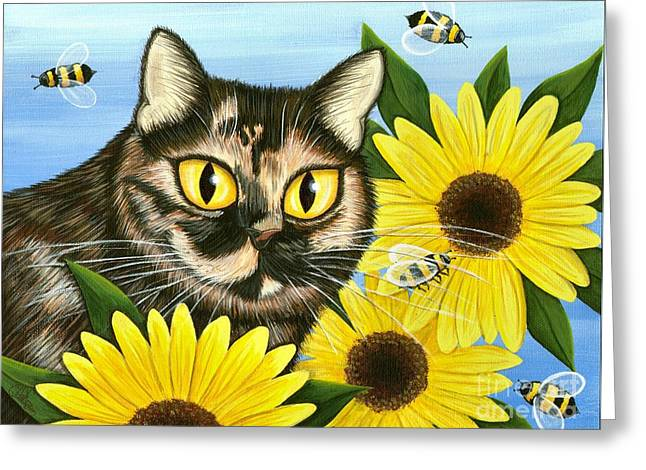 Greeting Card featuring the painting Hannah Tortoiseshell Cat Sunflowers by Carrie Hawks